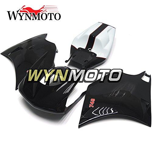 WYNMOTO Injection Fiberglass Racing Motorcycle Fairing Kit For 996 748 916 998 Monoposto Single Seat 96 97 98 99 00 01 02 1996 - 2002 Gloss Black Sportbike Bodywork