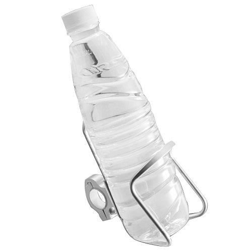 1x Universal Adjustable Chrome Billet Aluminum Bar Mount Water Bottle Beverage Drink Bottle Cup Holder 78 Handlebar For Dual Sport Street Bike ATV Cruiser Chopper Touring Motorcycle