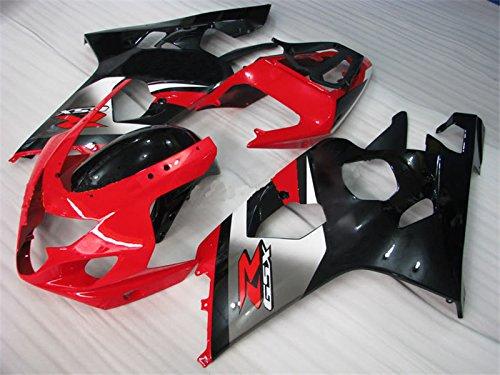 2004 2005 Injection Fairing Fit for SUZUKI GSXR600 GSX-R750 Black Red Plastic Bodyframe