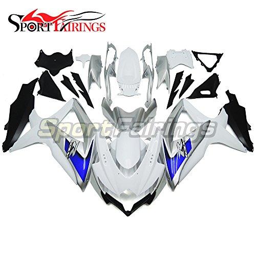 Sportfairings Complete Motorbike Fairing Kit For Suzuki GSX-R750600 GSXR600750 GSX-R 600 750 Year 2008 2009 2010 K8 Full Cover White Silver