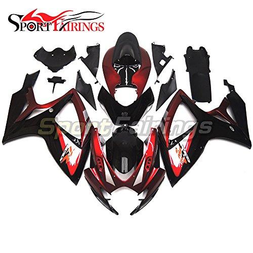 Sportfairings Motorbike Fairing Kit For Suzuki GSX-R750 GSX-R600 Year 2006 2007 K6 Bodywork Injection ABS Red Black Panel