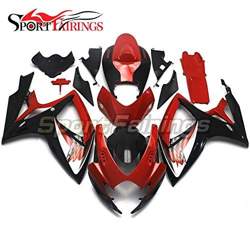 Sportfairings Motorbike Fairing Kit For Suzuki GSX-R750 GSX-R600 Year 2006 2007 K6 Bodywork Injection ABS Red Black Panle