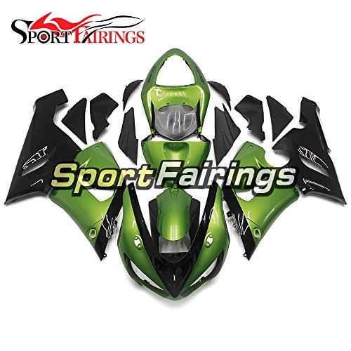 Sportfairings Dark Black Green Motorcycle Fairing Kits For Kawasaki ZX6R Ninja636 Year 2005 2006 ABS Plastics Injection Motorbike Cowling Bodywork