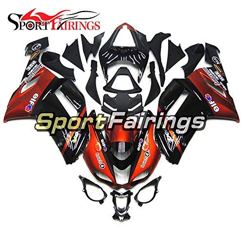Sportfairings Dark Red Black Motorbike Bodywork For Kawasaki ZX6R Ninja636 Year 2007 2008 ABS Plastics Injection Motorcycle Fairings Cowling
