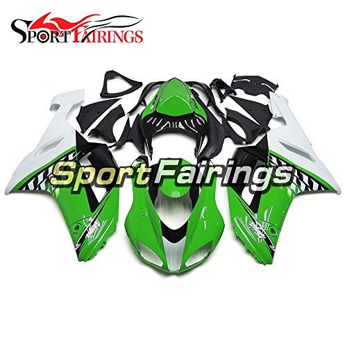 Sportfairings White Green ABS Plastics Injection Motorbike Cowling For Kawasaki ZX6R Ninja636 Year 2007 2008 Motorcycle Body Kits Fairings