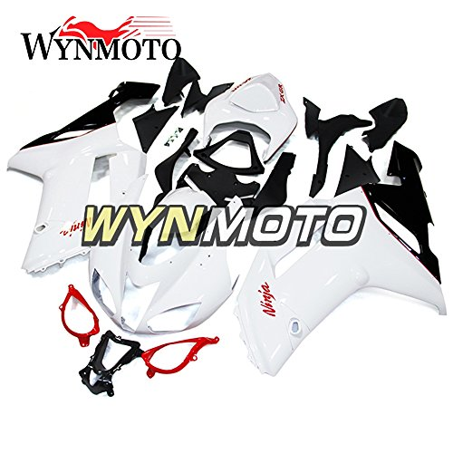 WYNMOTO ABS Plastic Injection White Pearl Motorcycle Full Fairing Kit Cowlings For Kawasaki ZX6R 2007 2008 ZX-6R 07 08 New Sportbike Covers