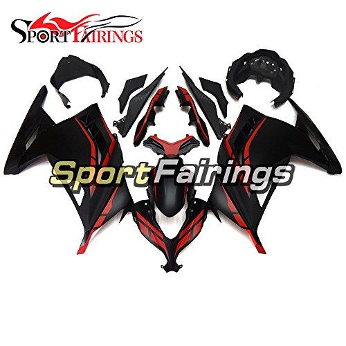 SportFairings Matte Black Red ABS Plastics Injection Motorcycle Fairing Kits For Kawasaki EX300R Ninja 300 Year 2013 - 2015 13 14 15 Motorbike Bodywork Cowling