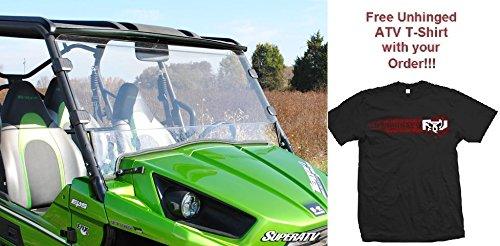 Bundle 2 Items 2014-2015 Kawasaki Teryx 800 Scratch Resistant Full Windshield and Unhinged ATV T-shirt 2X T-Shirt