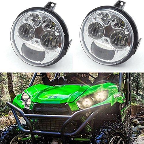 Pair Chrome 12v 45 INCH HighLow Beam LED Headlight For Kawasaki Teryx Teryx4 BRUTE FORCE 750