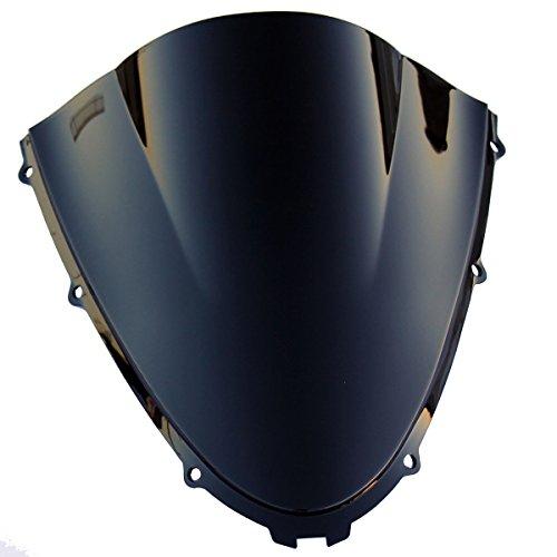 Double Bubble Black Tinted Smoke Windscreen Windshield Visor for 2014 Kawasaki Ninja ZX14R ZX1400F ABS