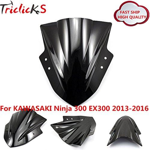 Triclicks Double Bubble Windscreen Windshield for KAWASAKI Ninja EX 300 2013-2016 BLACK