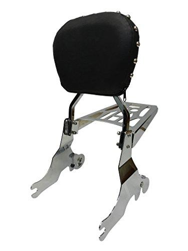 Studded Contoured - Sissy Bar Backrest Luggage Rack for 04 Harley Davidson Sportster XL 1200 883
