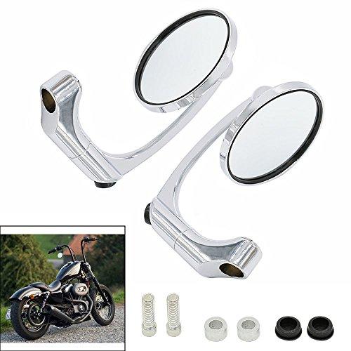 Frenshion New Silver Aluminum M10 Universal Motorcycle Round Side Mirrors Handlebar Rear View Mirrors for Yamaha Kawasaki Honda Suzuki KTM Triumph