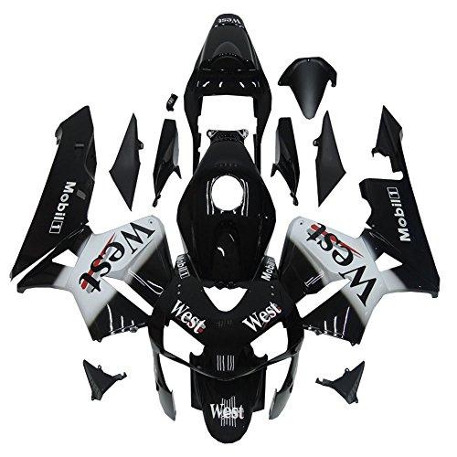 Black White Plastic Bodywork Fit for Honda 2003-2004 CBR600RR F5 Injection Fairing a05