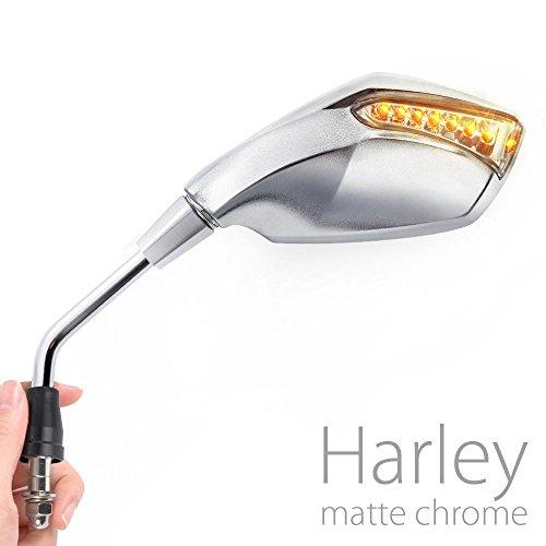 KiWAV Magazi Fist Chrome LED Turn Signal mirrors motorcycle for Harley-Davidson bikes x pair
