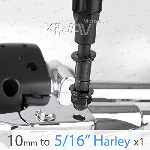 KiWAV Magazi Mirror adapter black 10MM standard to 516 robust one piece for Harley-Davidson bikes