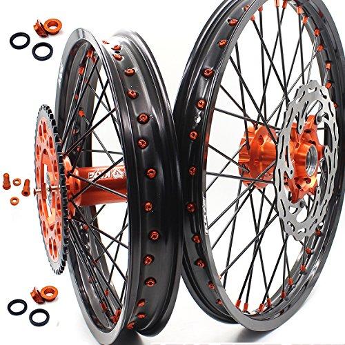 KKE KTM MX 21 19 WHEELS RIMS SET COMPLETE FRONT REAR FIT KTM EXC SX XCF XCW 125-530CC 03-18 DISC SPROCKET
