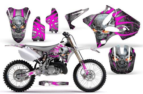 CreatorX Yamaha Yz125 Yz250 2 Stroke Graphics Kit Decals Skulls N Bolts Solid Pink White