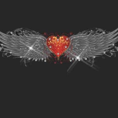 Hair Glove EZ Bandz Tribal Heart Wings wSilver Foil Head Band 50043