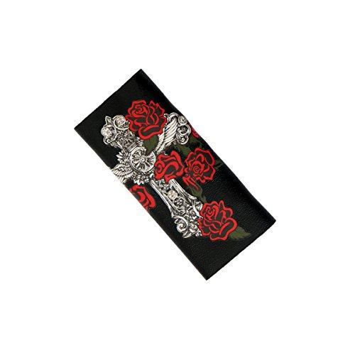 Hot Leathers Womens Cross Roses Hair Glove Black 4