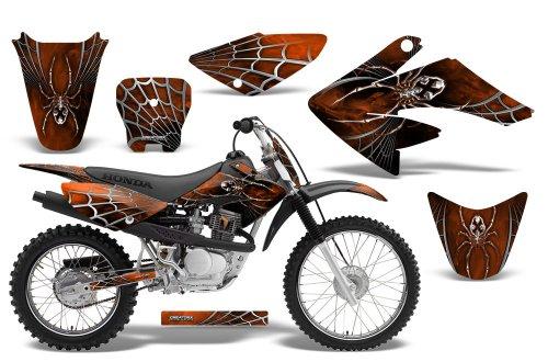 CreatorX Honda Crf 70 80 100 Graphics Kit Decals SpiderX Orange Dark