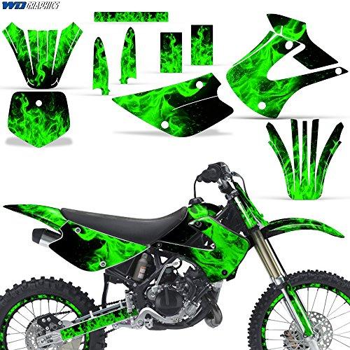 Kawasaki KX85 KX100 2001-2013 Graphic Kit Dirt Bike MX Motocross KX 85 KX 100 FLAMES GREEN