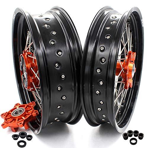 KKE 35 425 Cush Drive Supermoto Rims Set for KTM 690 Enduro R 2008-2019 690 SMC 2007-2011 Orange Hub Black Rims