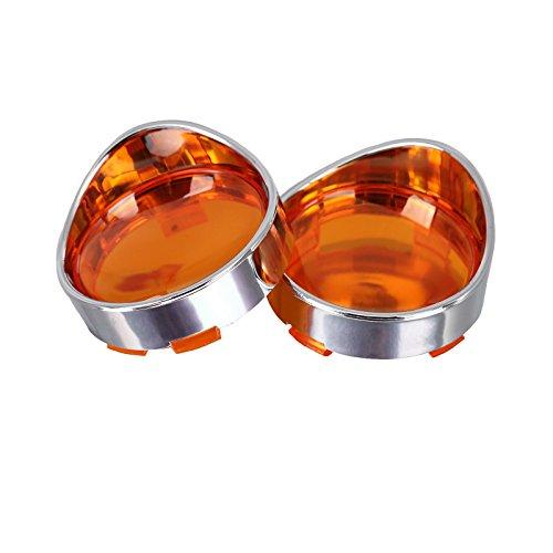 NTHREEAUTO Turn Signal Lights Visor-Style Lens for Harley Dyna Fatboy Softail Road Glide