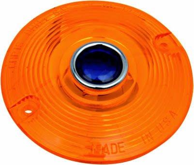 Amber wBlue Dot Turn Signal Flat Lens Harley Heritage Softail Classic - FLSTC 1987-2014 repl OEM 68440-86