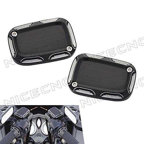 NICECNC 1 Pair Edge Cut Front Clutch and Brake Master Cylinder Covers Set for Harl-e-y VRSC 2006- Night Rod Special VRSCDX 2007-2017 VRSCD 2006-2008 Street Rod VRSCR 2006-2007