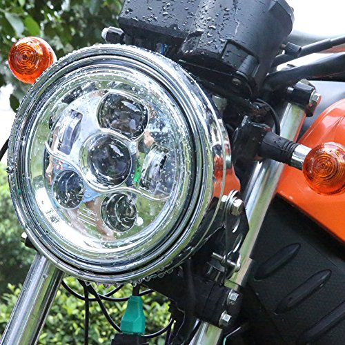5-34 inch LED Motorcycle Headlight for Harley Davidson Daymaker Sportster Dyna Iron 883 Triple Low Rider Super  Wide Glide Street Bob Night Rod 575 Headlamp Round Projector Silver Hi Lo Beam