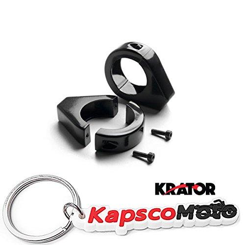 Krator Black Motorcycle Turn Signal Indicator Relocation Fork Clamp Kit Fits 39mm Fork Tubes Universal HONDA KAWASAKI SUZUKI HARLEY CRUISERS HOGS Metric Motorcycle Bikes  KapscoMoto Keychain