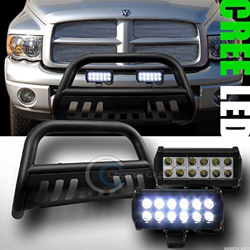 MATTE BLK BULL BAR BUMPER GRILL GUARD36W CREE LED FOG LIGHT 2002-2009 DODGE RAM