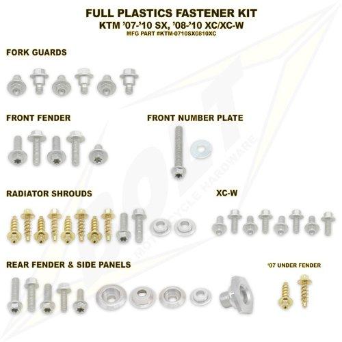 BOLT HARDWARE FULL PLASTIC FASTENER KIT - KTM SX 125-505 2007-2010 XC 125-530 2008-2010 _KTM-0710SX0810XC