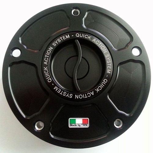 TWM Quick Action CNC Billet Fuel Gas Cap with Black Handle fits KTM 1190 RC8 RC8R Race