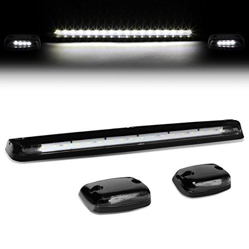 DNA Motoring CBL-CSIL07-BK-W LED Cab Roof Top Lens Center Light  Pair Side Lamps