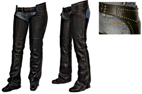 Milwaukee Motorcycle Clothing Company Ladies Chaps with Studs Black Medium