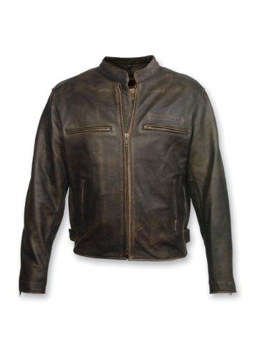 Milwaukee Motorcycle Clothing Company Mens Crazy Horse Jacket Distressed Black X-Large
