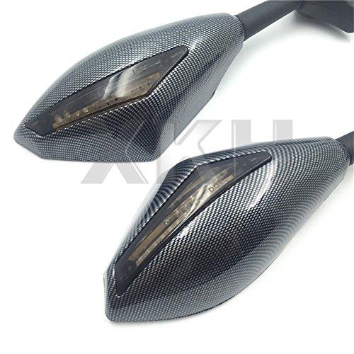 XKH- Carbon Turn Signal Mirrors with Smoke Lens Fit For Suzuki GSXR 600750 2001-2005 2009-2012GSXR 1000 2001-2005 2009-2012GSXR 1100 1993-1998 Hayabusa 1999-2012