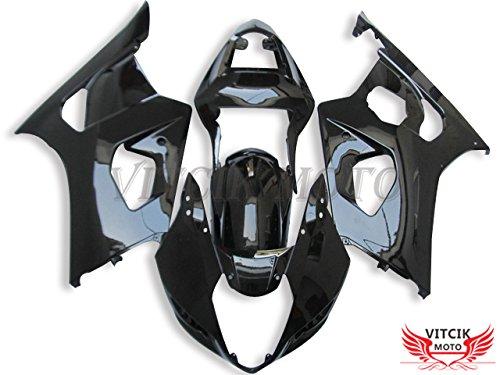 VITCIK Fairing Kits Fit for Suzuki GSXR1000 K3 2003 2004 GSXR 1000 GSX R1000 K3 03 04 Plastic ABS Injection Mold Complete Motorcycle Body Aftermarket Bodywork Frame Black A061