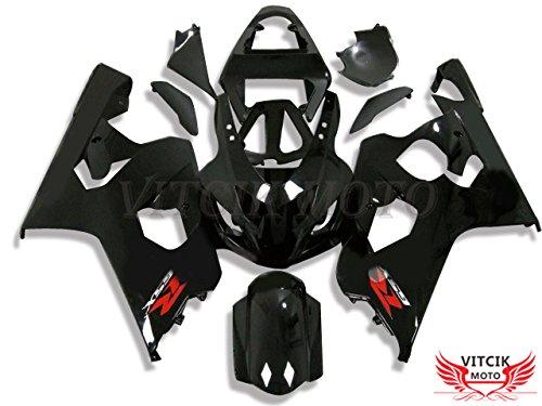 VITCIK Fairing Kits Fit for Suzuki GSXR1000 K3 2003 2004 GSXR 1000 GSX R1000 K3 03 04 Plastic ABS Injection Mold Complete Motorcycle Body Aftermarket Bodywork Frame Black A075