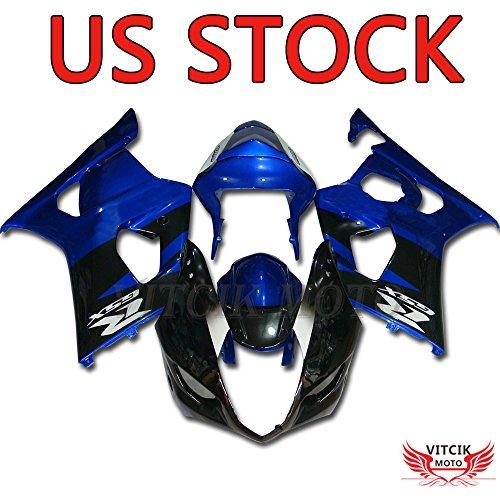 VITCIK Fairing Kits Fit for Suzuki GSXR1000 K3 2003 2004 GSXR 1000 GSX R1000 K3 03 04 Plastic ABS Injection Mold Complete Motorcycle Body Aftermarket Bodywork Frame Black Blue A011