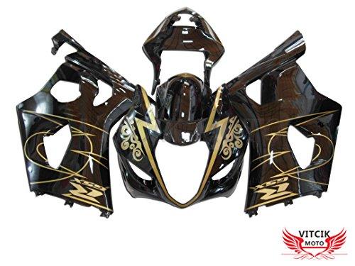VITCIK Fairing Kits Fit for Suzuki GSXR1000 K3 2003 2004 GSXR 1000 GSX R1000 K3 03 04 Plastic ABS Injection Mold Complete Motorcycle Body Aftermarket Bodywork Frame Black Gold A014