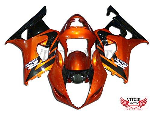 VITCIK Fairing Kits Fit for Suzuki GSXR1000 K3 2003 2004 GSXR 1000 GSX R1000 K3 03 04 Plastic ABS Injection Mold Complete Motorcycle Body Aftermarket Bodywork Frame Orange Black A009