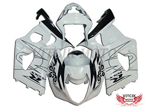VITCIK Fairing Kits Fit for Suzuki GSXR1000 K3 2003 2004 GSXR 1000 GSX R1000 K3 03 04 Plastic ABS Injection Mold Complete Motorcycle Body Aftermarket Bodywork Frame White Black A002