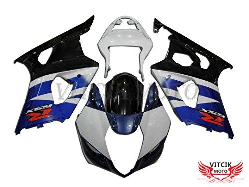 VITCIK Fairing Kits Fit for Suzuki GSXR1000 K3 2003 2004 GSXR 1000 GSX R1000 K3 03 04 Plastic ABS Injection Mold Complete Motorcycle Body Aftermarket Bodywork Frame White Blue A015