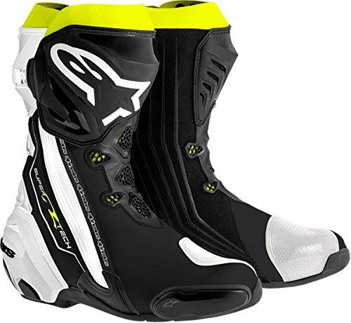 Alpinestars Supertech R Mens Motorcycle Road Racing Boots BlackWhiteFluorescent Yellow EU Size 42