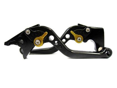 POWTEC PTBG-090 Adjustable short Brake and Clutch Levers for HONDA CBR600RR-BLACK WITH GOLD