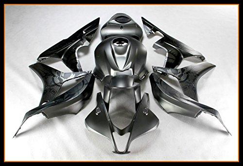 Protek ABS Plastic Injection Mold Full Fairings Set Bodywork With Heat Shield Windscreen for 2007 2008 Honda CBR600RR Black Graffiti Edition