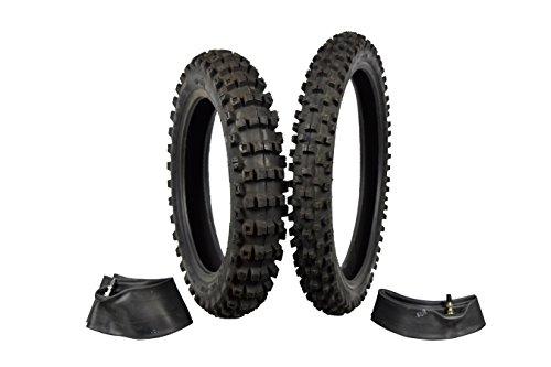 Full Bore 70100-17 F 90100-14 R M37 Intermediate Terrain Dirt Bike Tire Set with TR-4 Inner Tubes